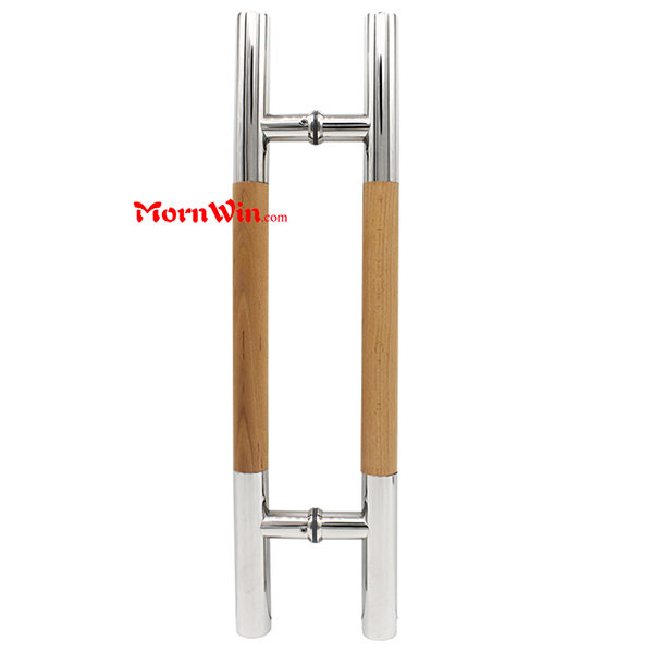 Stainless steel+wooden handle glass door pull handle