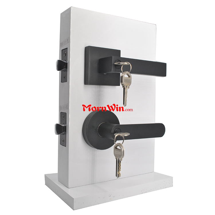 Heavy duty zinc alloy tubular leverset black nickel main entrance entry door lever handle lock